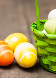 Easter eggs. In a basket Royalty Free Stock Images