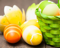 Easter eggs. In a basket Royalty Free Stock Photo