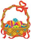 Easter eggs basket. Clip-art / illustration for your design, scrapbook or holiday card Stock Images