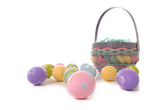 Easter Eggs and Basket Royalty Free Stock Photography