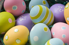 Easter Eggs in Basket. Brightly colored Easter eggs in a basket Royalty Free Stock Images