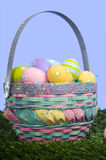 Easter Eggs in Basket Stock Photo