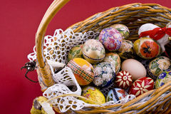 Easter eggs basket. Easter eggs in a traditional easter basket Stock Photos