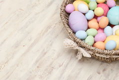 Easter. Eggs in the basket Royalty Free Stock Photo