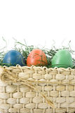 Easter eggs in a basket. Isolated on white stock photography