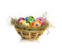 Easter eggs in basket. Isolated on white Stock Photography