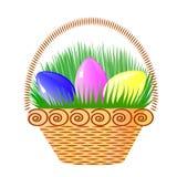 Easter eggs in the basket. Vector illustration of Easter eggs in the basket Royalty Free Stock Photo