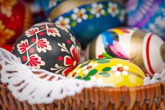 Easter eggs in basket as background close up. A lot off easter eggs oin basket as background - close up Royalty Free Stock Photo
