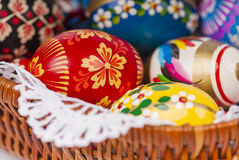 Easter eggs in basket as background close up. A lot off easter eggs oin basket as background - close up Stock Photography