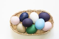 Easter Eggs in a Basket 2019 Background stock image
