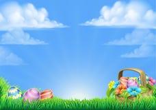 Easter Eggs Basket Background. An Easter eggs basket design field scene background Stock Image