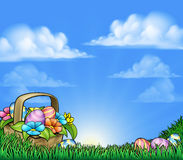 Easter Eggs Basket Background Royalty Free Stock Photos