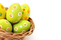 Easter eggs in a basket from bottom corner Stock Image