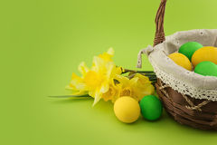 Easter eggs in the basket with bouquet of yellow daffodil Royalty Free Stock Image
