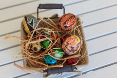 Easter eggs in a basket. Bunch of colorful Easter eggs in a basket Stock Photo