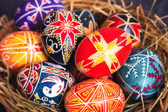 Easter eggs in a basket close-up. Stock Images