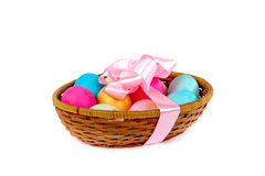 Easter eggs in a basket. Easter colored eggs in the basket on white Royalty Free Stock Photo