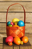 Easter eggs in basket. Colored easter eggs in basket on a wooden log Stock Photo