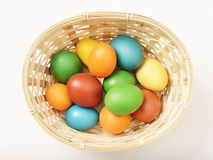 Easter eggs in a basket. Colorful home-made organic easter eggs in a simple basket Royalty Free Stock Images