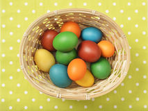 Easter Eggs in a Basket. Colorful home-made organic easter eggs in a simple basket on a green background Stock Photo