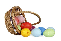 Easter eggs and basket Royalty Free Stock Photos