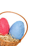 Easter eggs in a basket from corner Royalty Free Stock Photos