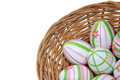 Easter eggs in a basket from corner Royalty Free Stock Image