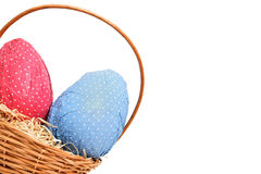 Easter eggs in a basket from corner Stock Image