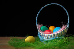 Easter eggs in the basket. Dark background Royalty Free Stock Images