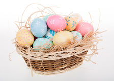 Easter Eggs in a Basket Stock Photography