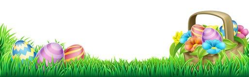 Easter Eggs Basket Design Element. An Easter eggs basket design element background footer Stock Photos
