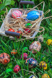 Easter eggs in a basket. Diverse Easter eggs in a basket, placed on a grass Stock Photography
