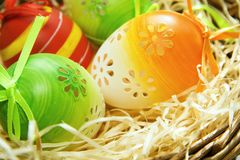 Easter eggs in a basket, easter background. Close-up royalty free stock image