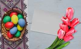 Easter eggs in basket Royalty Free Stock Photo