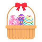 Easter Eggs In Basket flat icon, easter. And holiday, decor sign vector graphics, a colorful solid pattern on a white background, eps 10 Royalty Free Stock Image