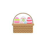 Easter eggs in basket flat icon, religion holiday stock illustration