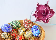 Easter eggs-basket full of eggs. Stock Image