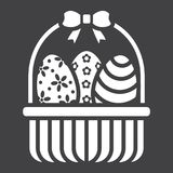 Easter Eggs In Basket glyph icon, easter. And holiday, decor sign vector graphics, a solid pattern on a black background, eps 10 Royalty Free Stock Photo