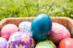 Easter eggs in basket. On grass Royalty Free Stock Photography