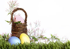 Easter Eggs Basket Grass Border Stock Photo