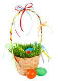 Easter eggs in basket with green grass Stock Photo