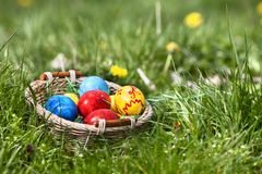 Easter eggs in basket on green grass Royalty Free Stock Images