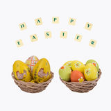 Easter eggs in a basket . Royalty Free Stock Images