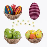 Easter eggs in a basket . Easter eggs in a basket with a happy wishes on white background Stock Photo