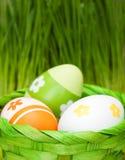 Easter eggs. In a basket hidden outdoor Stock Images