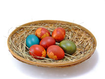 Easter eggs in the basket horizontal Royalty Free Stock Photos