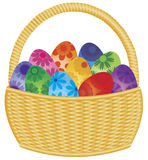 Easter Eggs Basket Illustration. Basket with Colorful Floral Pattern Easter Eggs Isolated on White Background Illustration Stock Photos