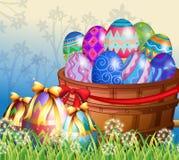 Easter eggs in basket. Illustration Stock Image