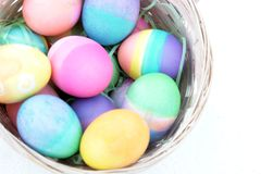 Easter Eggs Basket Isolated Royalty Free Stock Images