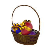 Easter eggs and basket isolated. 3d render Stock Images
